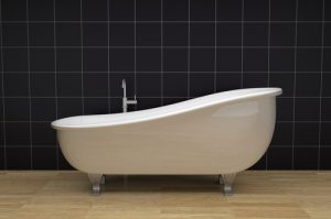 one bathroom with a vintage bathtub (3d render)